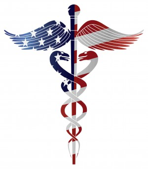 ACA American Flag on Medicine Symbol