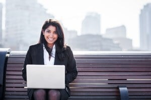 Indian Business Woman Working on Her Laptop