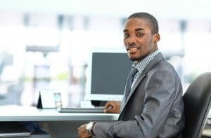 african american business man at his computer