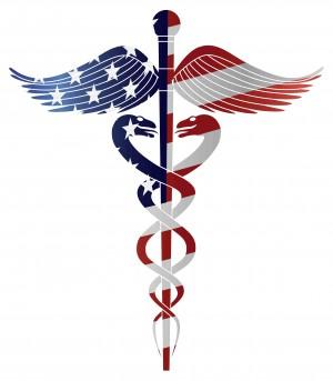 ACA American Flag on Medicine Symbol