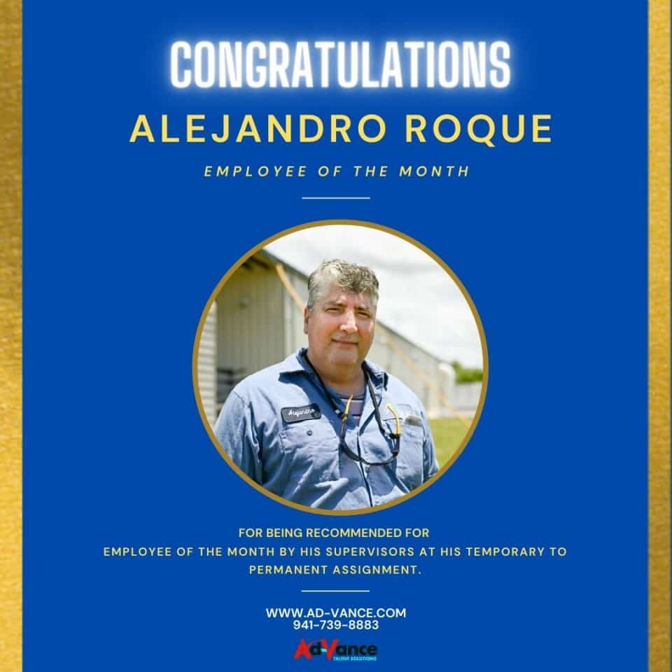 Alejandro Roque Employee of the Month